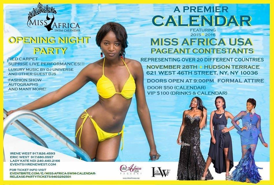 Miss Africa USA Pageant Launches Swim Wear Calendar 2016 In Collaboration With Acclaimed Designer Irene West