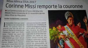 Cameroonian Press Across The Nation Hailed Corinne Missi for Winning The Crown This Year
