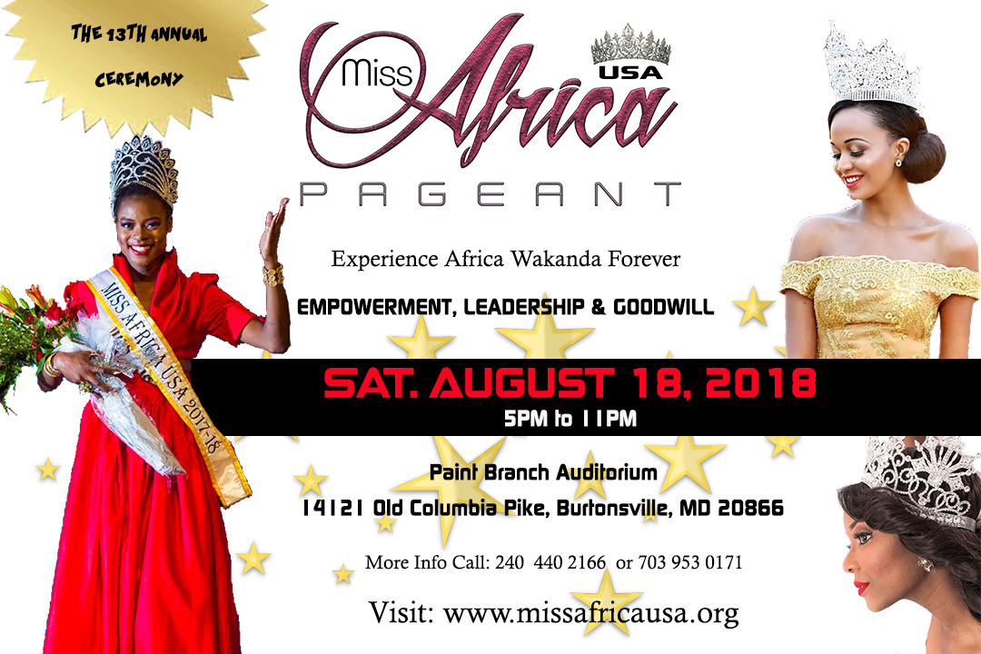 Miss Africa USA Releases Official Event Flyer of The Grand Coronation Ceremony August 18 2018